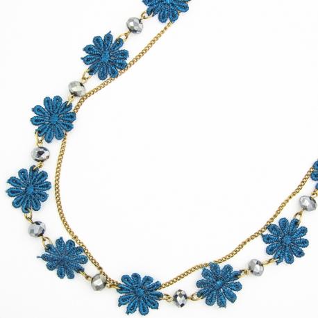 Подвеска№1329 синие тканевые цветы на длинной цепочке