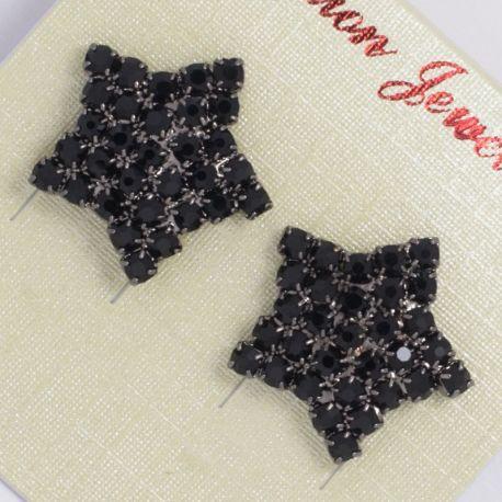 Серьги№1346 звездочка с черными стразами.