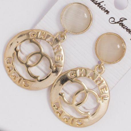 Серьги№1377 Chanel ажурные под золото.
