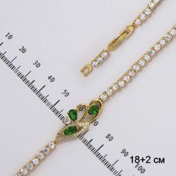Браслет Xuping№205 нежная абстракция с белыми и зелеными цирконами