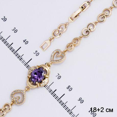 Браслет Xuping№232 19 см, с фиолетовым камнем и ажурными сердечками.