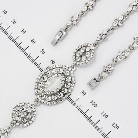Браслет№868 оптом овалы в белых стразах на металле под серебро