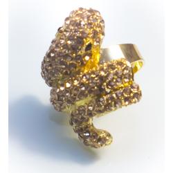 Кольцо золотая змея с желтыми стразами№21