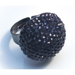 Кольцо шар с черными стразами№35