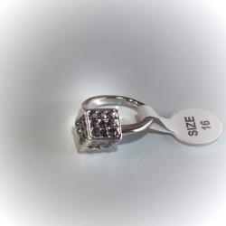 Кольцо белое со стразами № 125