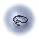 Кольцо с черными стразами № 145