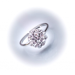 Кольцо белое со стразами №148