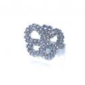 Кольцо белое со стразами №149