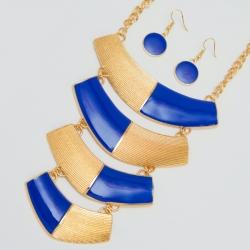Подвеска№992 с сережками синяя оригинальная с под золото с орнаментом из эмали