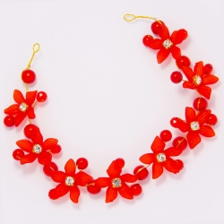 Украшение №103 красные цветы с красными жемчужинами