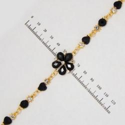Браслет №666 черный цветок с белыми стразами на металле под золото