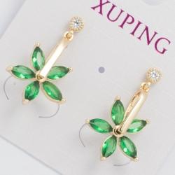 Серьги Xuping№446 висюлька с зеленым цветочком.