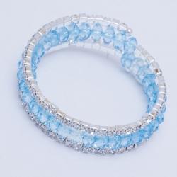 Браслет№706 накрутка с голубыми кристалами и белыми стразами