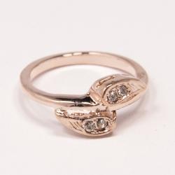 Кольцо Аэлина№126 под золото с белыми стразами ,размерное