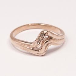 Кольцо Аэлина№117 под золото с белыми стразами ,размерное