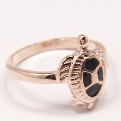 Кольцо Аэлина№95 под золото черепашка с черной эмалью