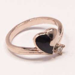 Кольцо Аэлина№90 под золото с черной эмалью и белыми стразами