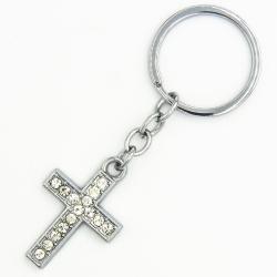 Брелок№56 крест из белого металла с белыми стразами