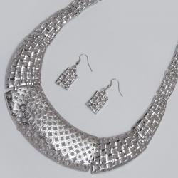 Подвеска№1562 металлическая под серебро с сережками