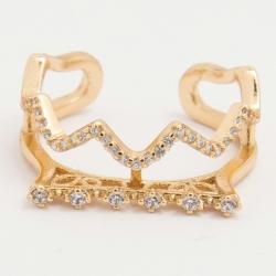 Кольцо Xuping№209 позолота оригинальной формы с белыми цирконами.