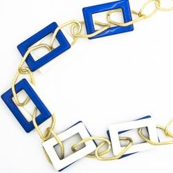 Подвеска№1623 бело-голубые прямоугольники на длиной цепи под золото.