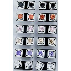 Гвоздики№59 цветной камешек на металле под серебро