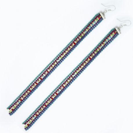 Серьги№1396 длинные трехцветные цепочки с мелким рядом разноцветных камешков
