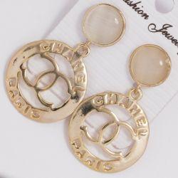 Серьги№1424 Chanel ажурные под золото.