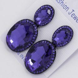 Серьги№1534 оптом ярко синий камень овальной формы -оригинальная висюлька