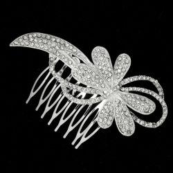 Гребешок№124 цветок с белыми стразами оптом