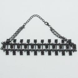 Подвеска№1892 чекер на темном металле с черными стразами