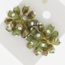 Серьги№1638 оптом фейерверк из зеленых перламутровых камней с мелкими белыми стразами