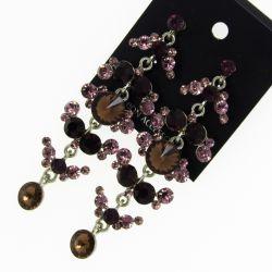 Серьги№1675 оптом фиолетовые висюльки на белом металле