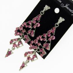 Серьги№1676 оптом розовые висюльки на металле под серебро