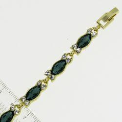 Браслет№951 оптом зеленые стразы маркизы на металле под золото