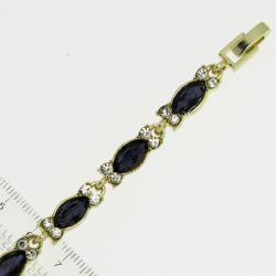 Браслет№952 оптом синие стразы маркизы на металле под золото