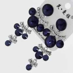 Серьги№1721 оптом синие круглые стразы висюльками на металле под серебро