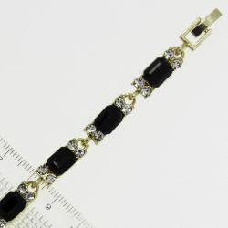 Браслет№963 оптом черные стразы квадратной формы с белыми кристаллами на металле под золото