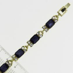 Браслет№964 оптом синие стразы квадратной формы с белыми кристаллами на металле под золото
