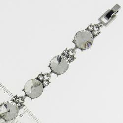 Браслет№968 оптом белые стразы круглой формы на металле под серебро