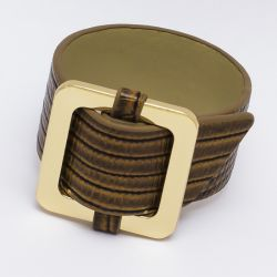 Браслет№986 оптом коричневый с квадратной пряжкой под золото