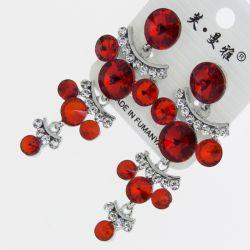 Серьги№1723 оптом красные круглые стразы висюльками на металле под серебро