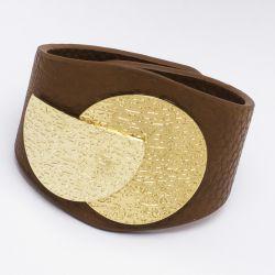 Браслет№996 коричневый под кожу с металлической пряжкой под золото оптом