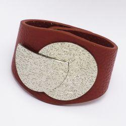 Браслет№999 красный с металлической пряжкой под серебро оптом