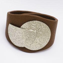 Браслет№1000 коричневый с металлической пряжкой под серебро оптом