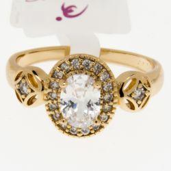 Кольцо Xuping№323 оптом с большим белым камнем.
