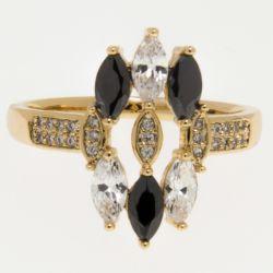Кольцо Xuping№345 оптом с белыми и черными маркизами.