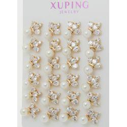 Гвоздики Xuping№1333 оптом с жемчужиной и цирконами.