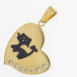 Кулон сталь№324 оптом сердечко с котенком.