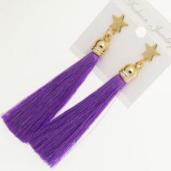 Серьги№1905 оптом висюльки фиолетового цвета.